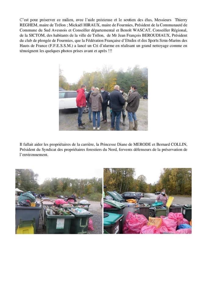Nettoyage de la carrière de Trélon :  la FFESSM des Hauts de France agit !